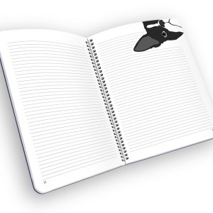 Open spiral-bound notebook with lined pages and a boston terrior.