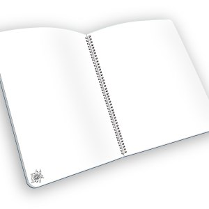 Open spiral-bound notebook with blank pages and a LOL graphic.