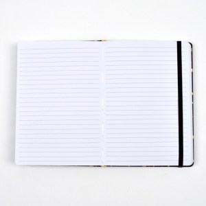 Open notebook with lined pages and strap.