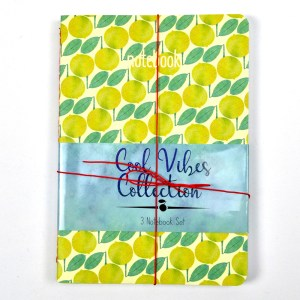 Small composition notebook with lemon pattern.