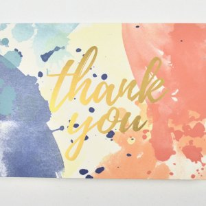 Watercolor thank you car with gold foil.