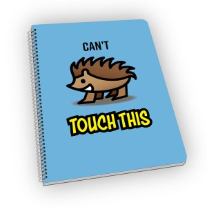 Spiral-bound notebook with a hedgehog carton on the cover.
