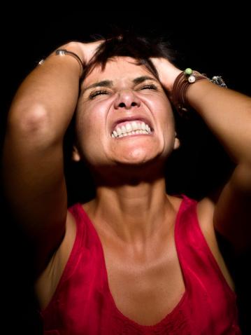 Woman Angry Grabbing Head Gritting Teeth 155829853