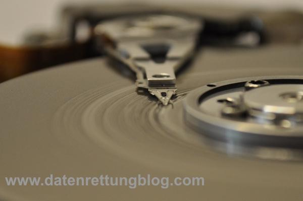 """Gut erkennbar sind die Rillen, die die Köpfe in die Oberfläche der Festplatte """"gefressen"""" haben."""