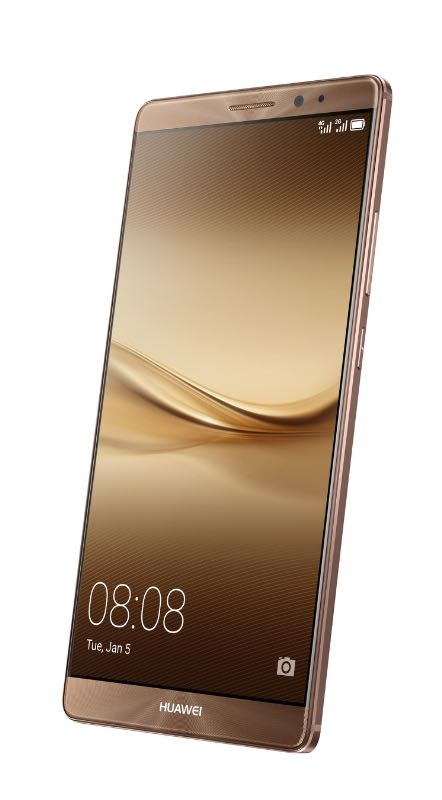 The new Huawei Mate 8 smartphone, launched at CES 2016, displayed with the coffee case colour case Foto:Huawei Consumer BG