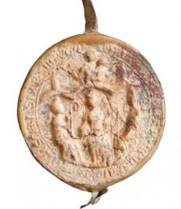 Siegel des Stifts Ramelsloh aus dem Jahr 1282 - das Siegel zeigt unter einem Baldachin den Stiftsgrün-der Ansgar und die beiden Stiftspatrone Sixtus und Sinnitius, in der Mitte über Ansgar Maria mit dem Jesuskind.
