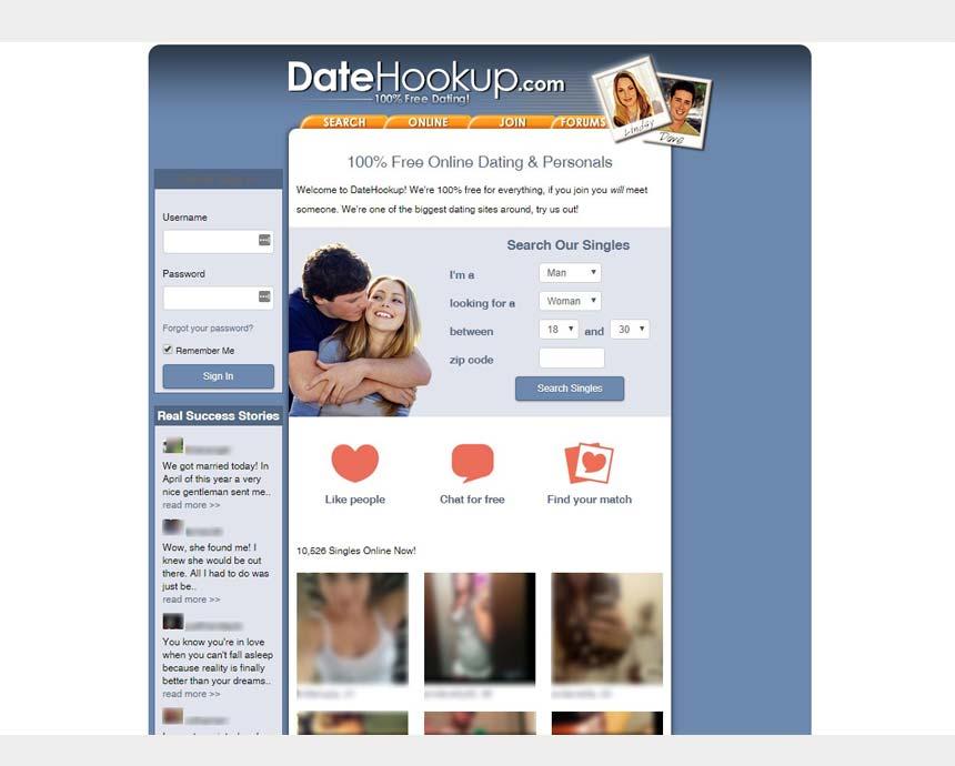 Datehookup.com's website