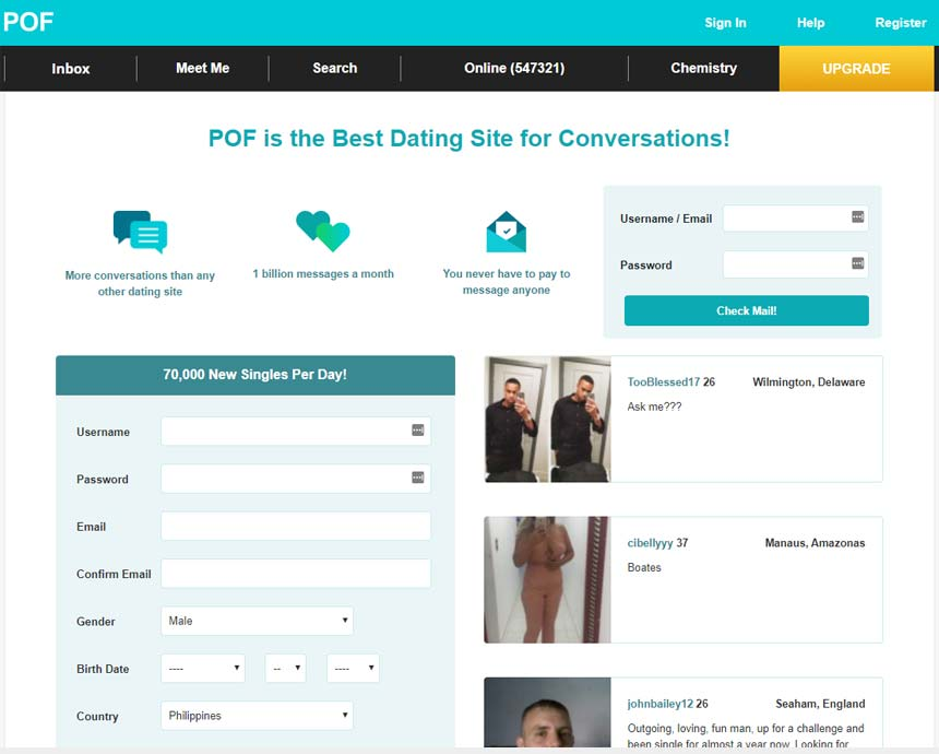PlentyofFish.com's front registration page