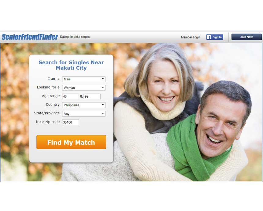SeniorFriendFinder opening page.