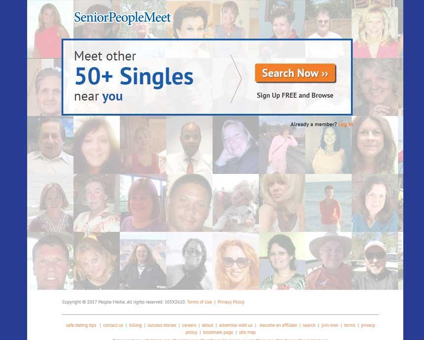 SeniorPeopleMeet opening page.