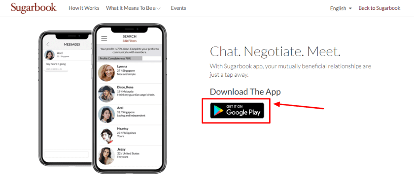 Sugarbook - chat with sugarbook app