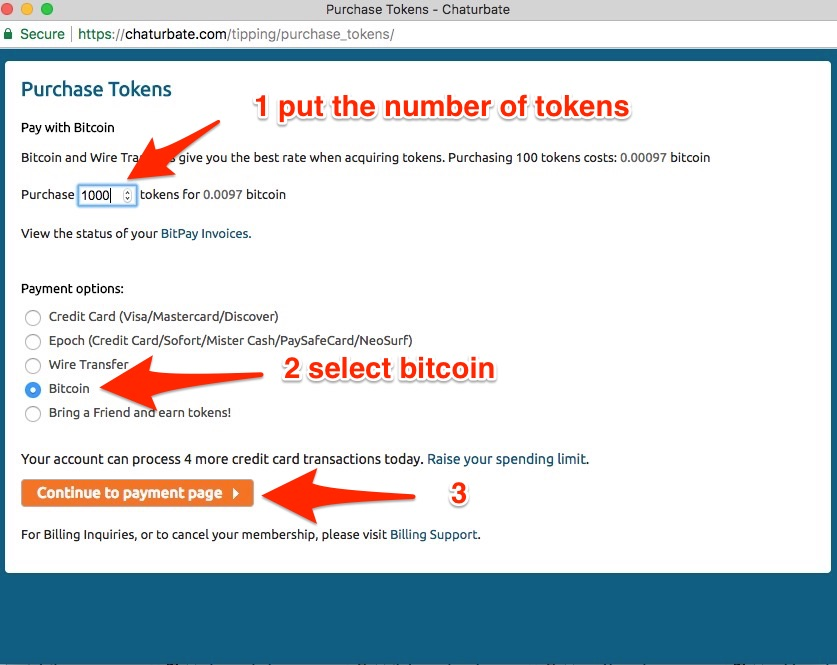 select tokens and buy with bitcoin