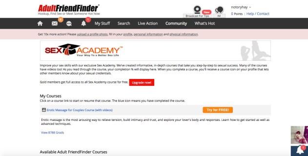 Adult Friend Finder sex academy