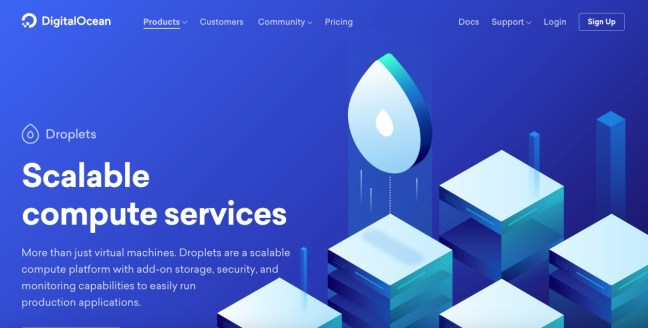 digitalocean homepage
