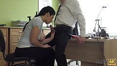 Poor Babe With Perfect Tits Convince Accountant For A Loan