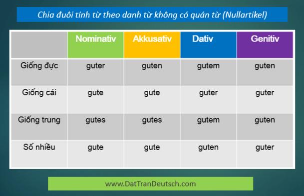 Học tiếng Đức miễn phí với DatTranDeutsch - Bảng chia đuôi tính từ với danh từ không có quán từ