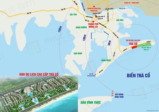 Vị trí dự án Trà Cổ Long Beach Luxury Resort