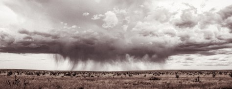 A rain storm sweeps across the flat West Texas landscape.
