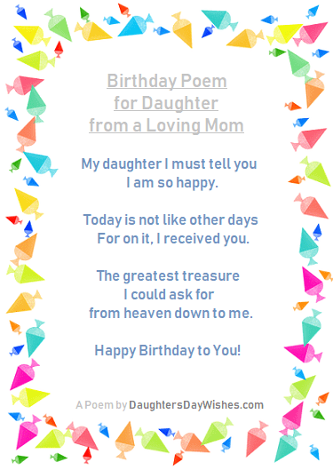 Daughter S Birthday Poems From Mom Daughtersdaywishes Com