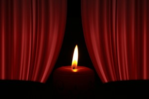 candle and curtain