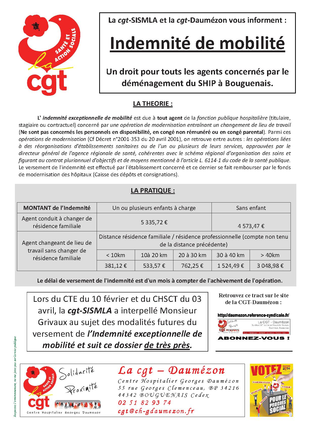 d m nagement du ship et indemnit de mobilit la cgt