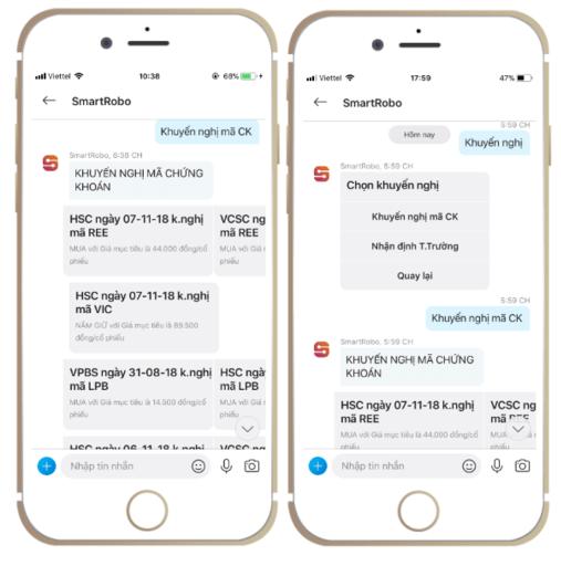Tra cứu thông tin khuyến nghị trên SmartRobo (điện thoại)