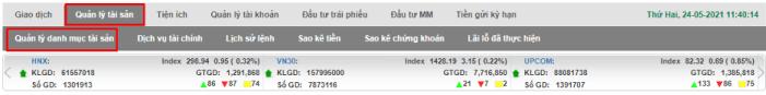 xem số dư tiền và chứng khoán trên web VPS SmartOne