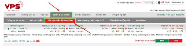 thay đổi mã PIN trên web SmartOne