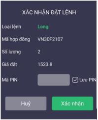 xác nhận đặt lệnh trên app SmartPro