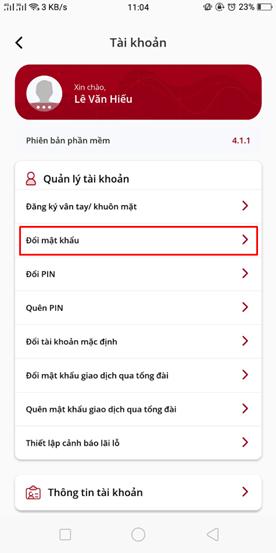 Thay đổi password đăng nhập trên app VPS SmartOne