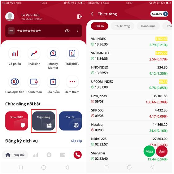 xem thông tin chỉ số thị trường trên app VPS SmartOne