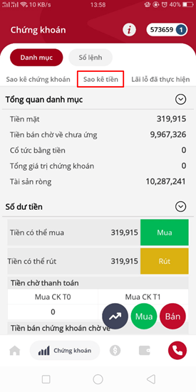 Hướng dẫn xem sao kê tháng trên app SmartOne
