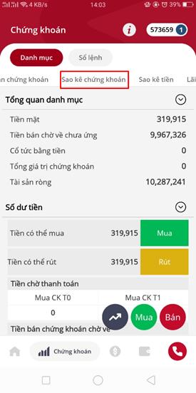 xem sao kê tháng trên app SmartOne