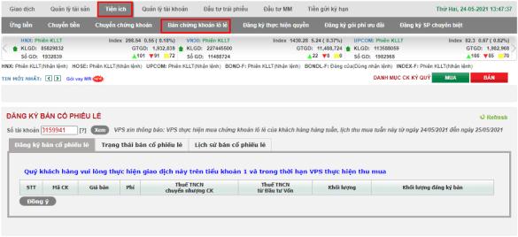 bán cổ phiếu lô lẻ trên VPS SmartOne