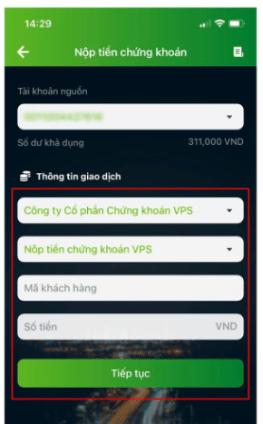 chuyển tiền từ ngân hàng Vietcombank vào VPS