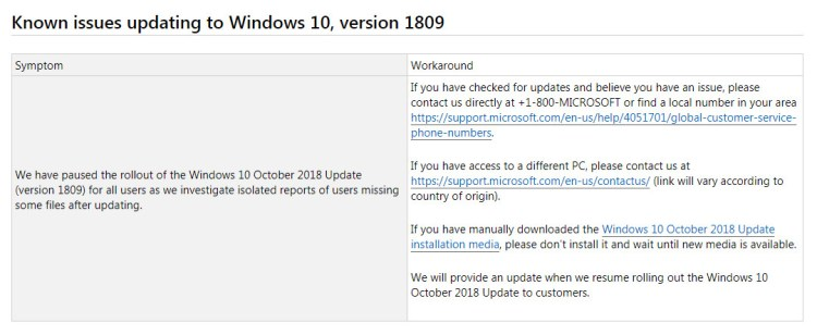 Microsoft Pause October 2018 update