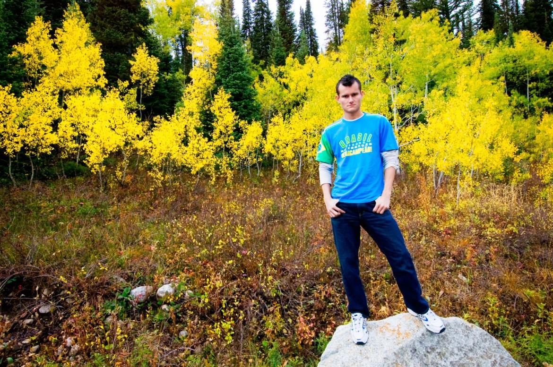 Autumn trees as background for chris portrait