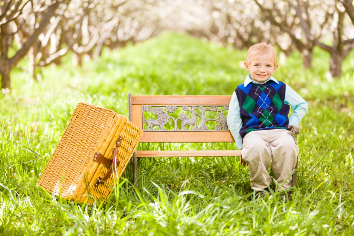 Henry by himself in the orchard