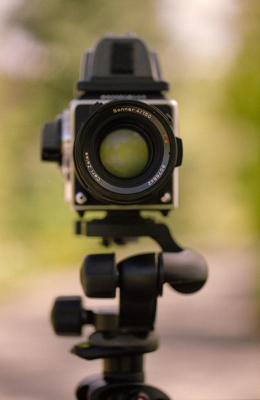 Hasselblad film camera on a tripod