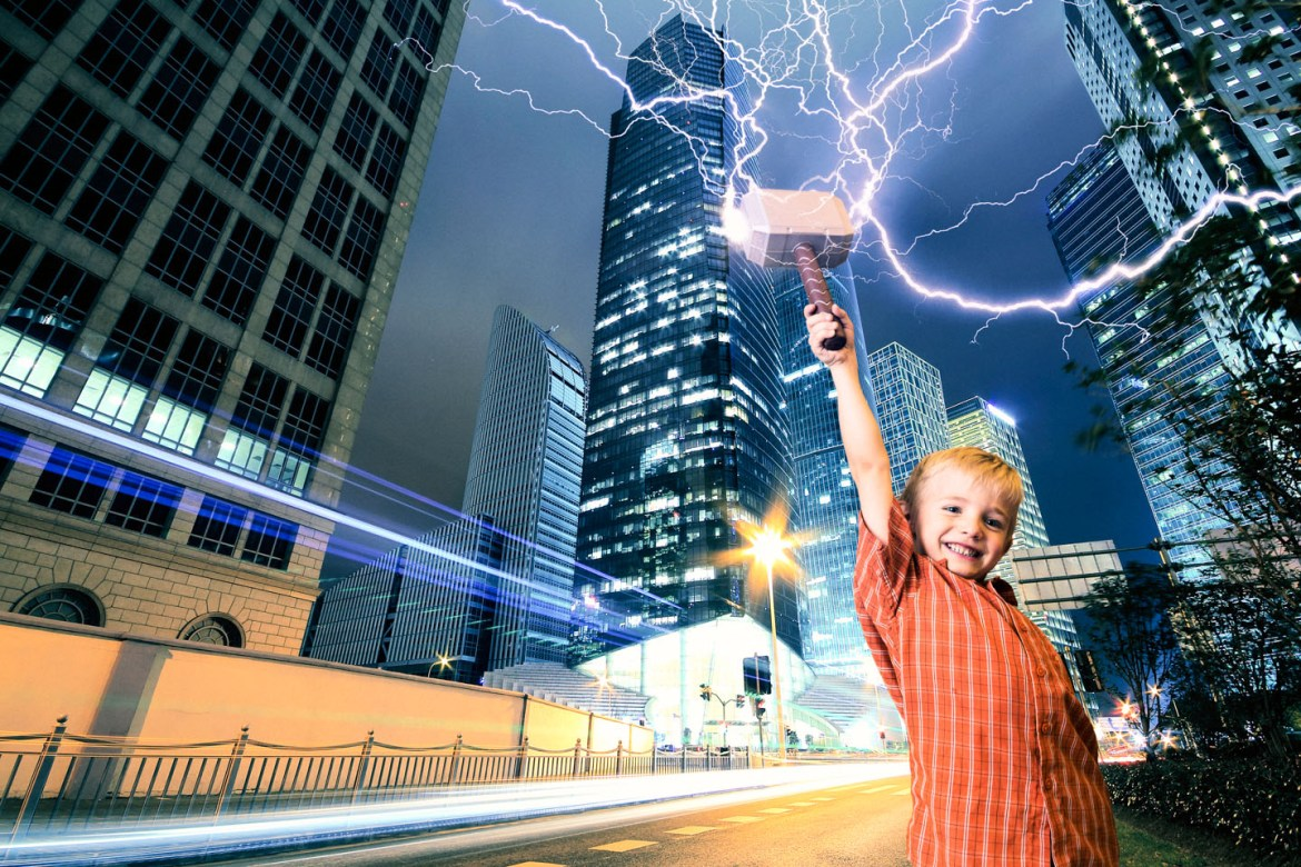 I added Henry to a cityscape and added lightning, go Thor!