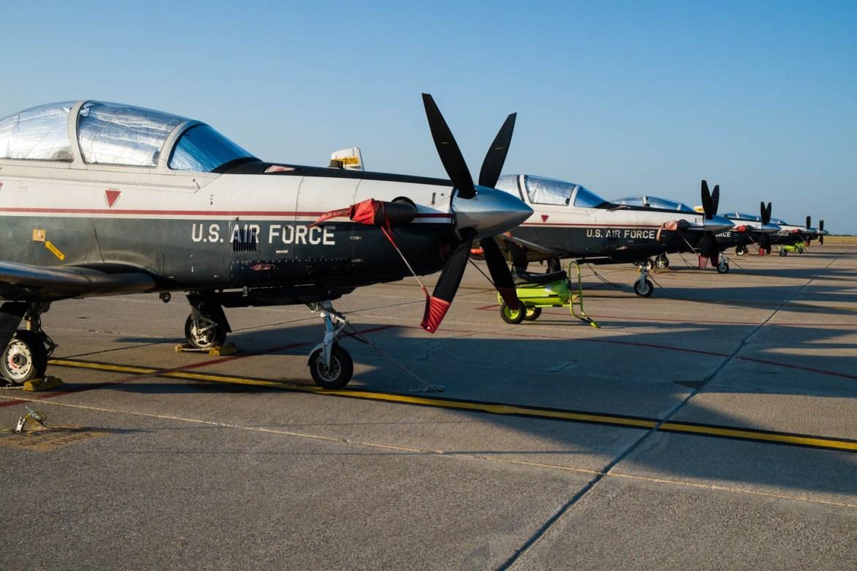 Row of propeller aircraft