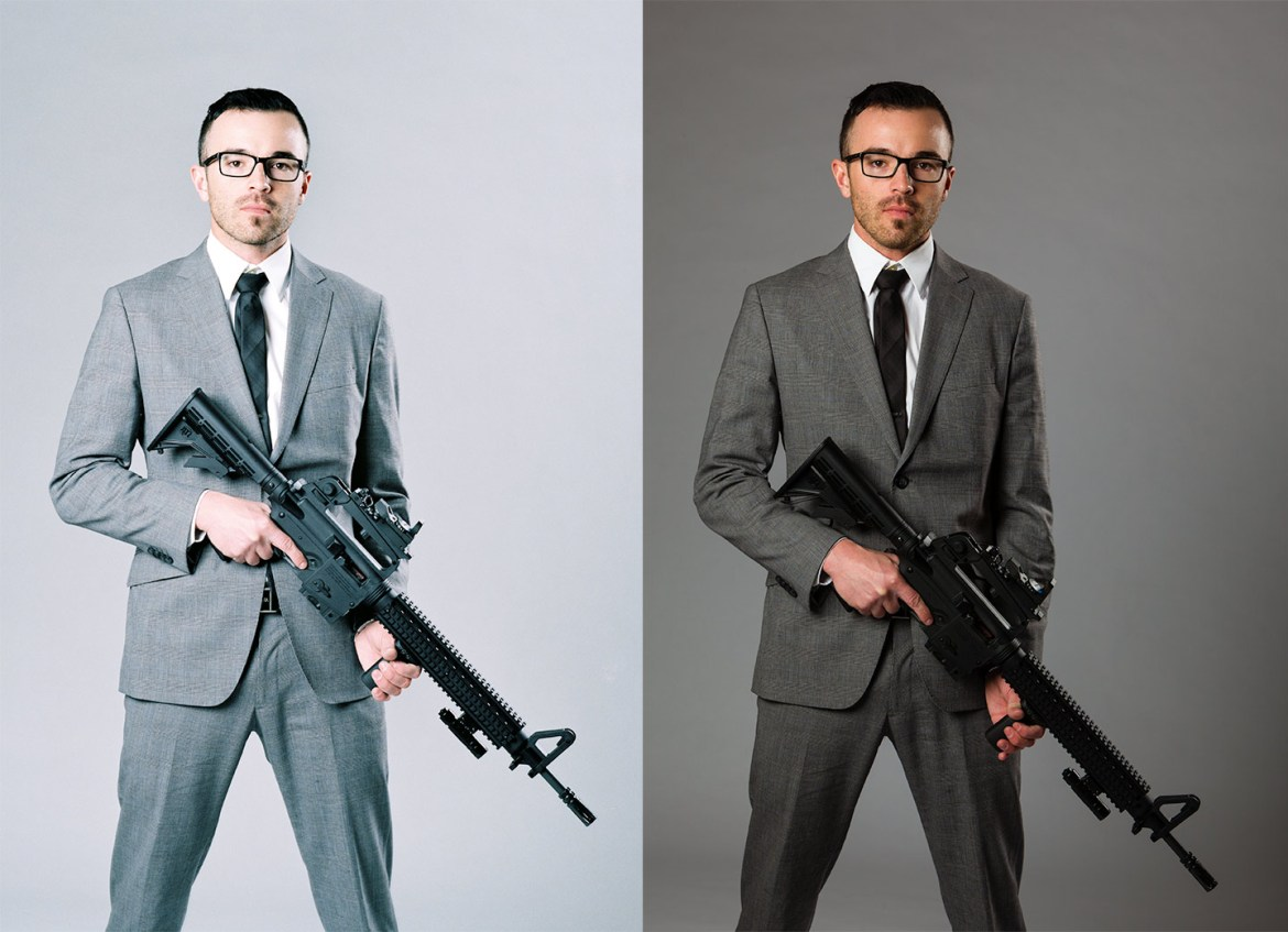 A man in a suit holding a gun. Comparing film vs digital.
