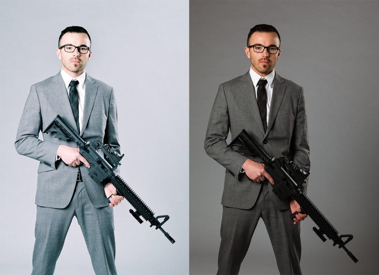 A man in a suit holding a gun. Comparing film vs digital.