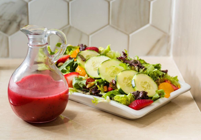 Fresh summer salad with a raspberry vinaigrette