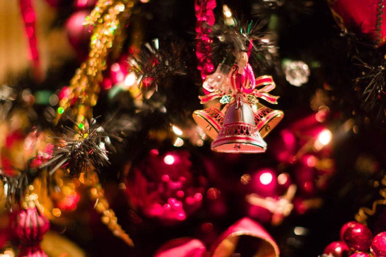 Christmas decorations including a black christmas tree