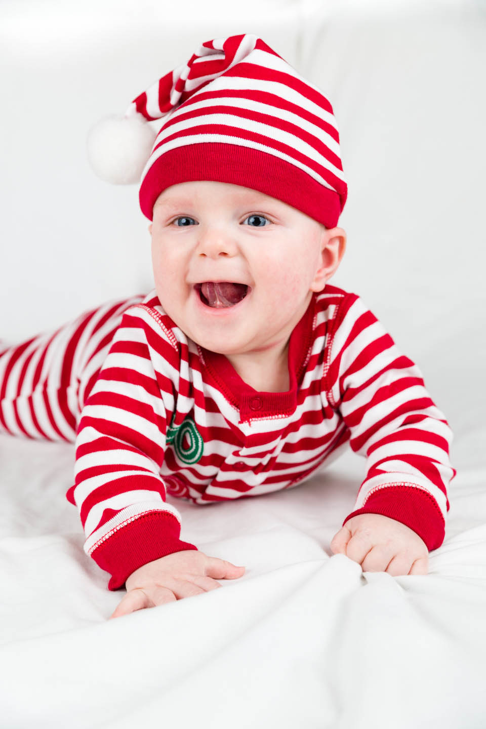 Baby Alex in a Christmas outfit