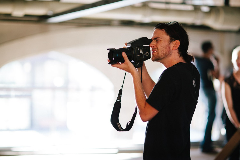 Ryan using a Contax film camera