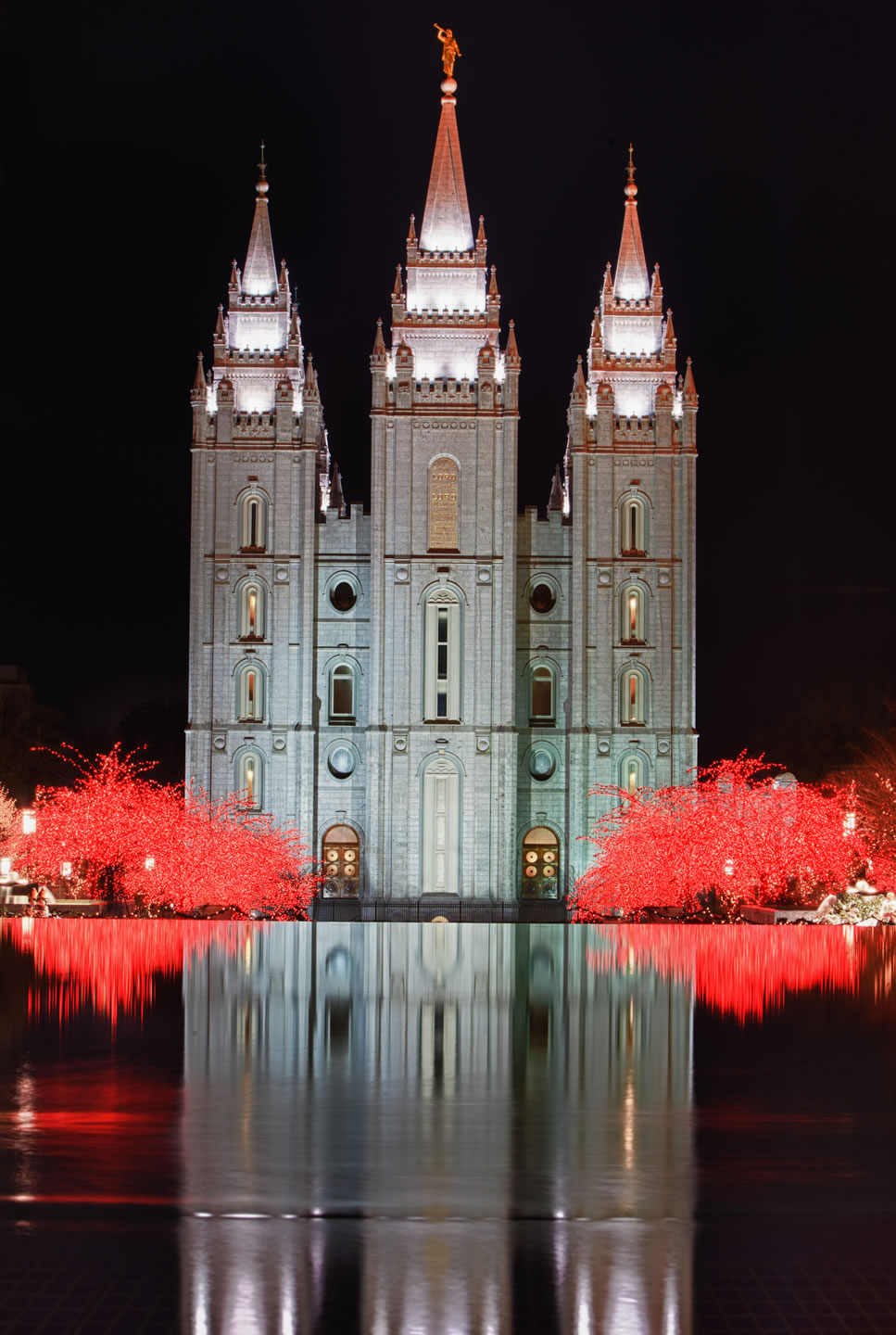 Salt Lake Temple reflects in the water