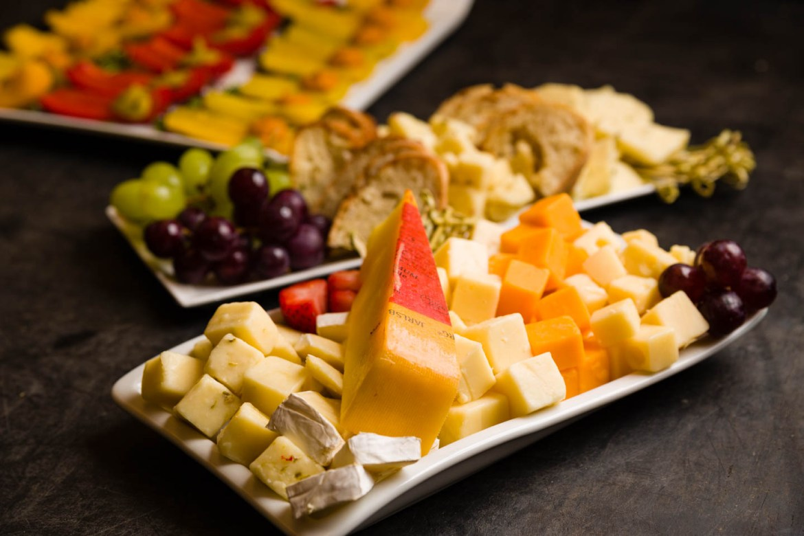 Cheese and fruit trays