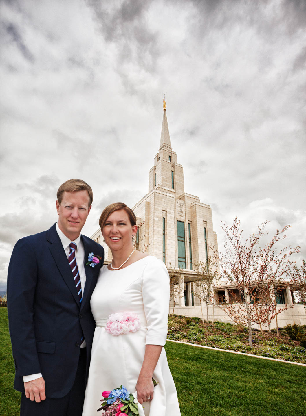 I created a Photoshop composite of the bride and groom with the temple in the background